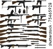Layered vector illustration of various weapons which mainly be used at World War II. - stock photo