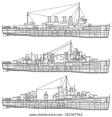 Layered vector illustration of Warship. - stock vector