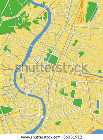 layered vector map of Bangkok. - stock vector