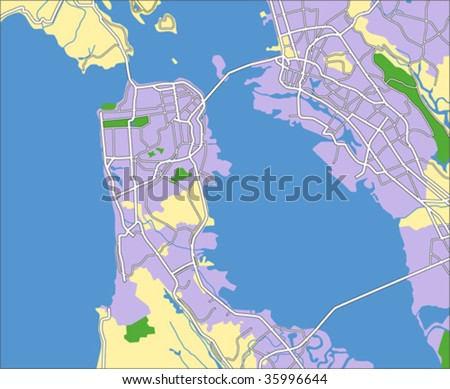 layered vector map of san Francisco. - stock vector