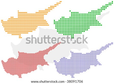 Layered vector pixel map of Cyprus - stock vector