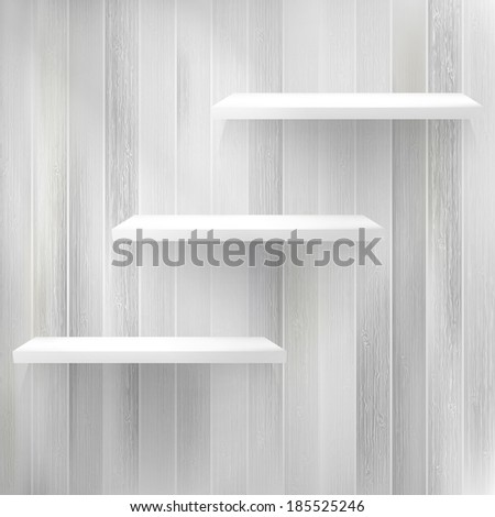 Layers Blank white wooden bookshelf. + EPS10 vector file - stock vector