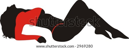 Laying Lady - stock vector