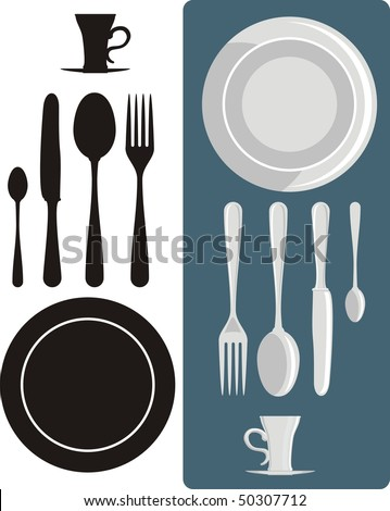 Laying the table for two - stock vector