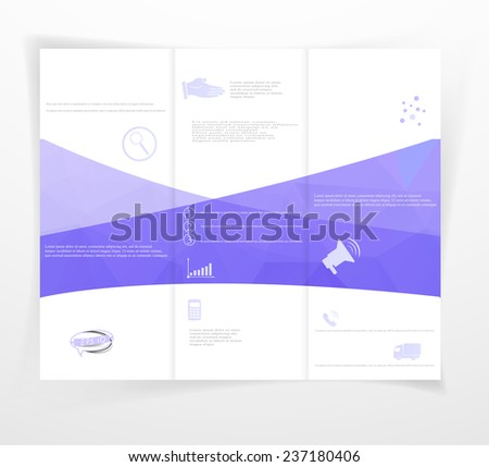 Layout booklet with examples of infographics and icons in purple color