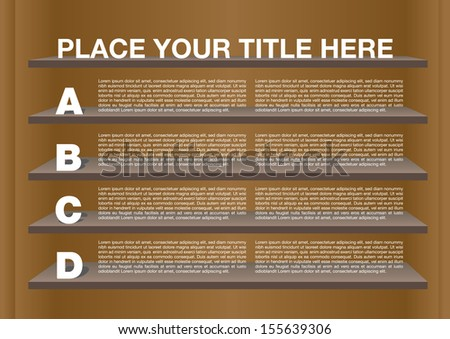 Layout Design with shelves and own area for text. Vector illustration. - stock vector