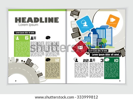 Layout magazine with infographics vector  - stock vector