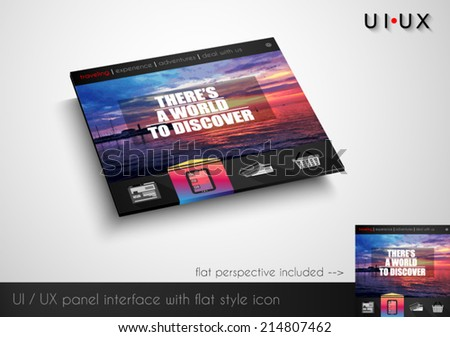 Layout of flat style modern webite panel with icons and sample image. Flat frontal perspective included. - stock vector
