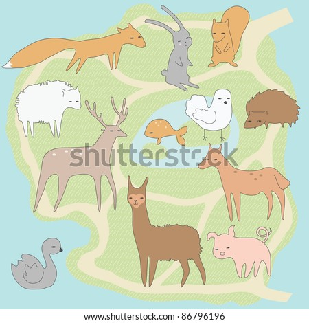 Layout plan of little zoo with animals - stock vector
