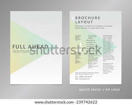 Layout template: catalog, brochure, cover, page. Moving ahead concept on stars background. Low polygonal design, geometric sharp surfaces, minimalistic soft color style. Arrow shape. - stock vector