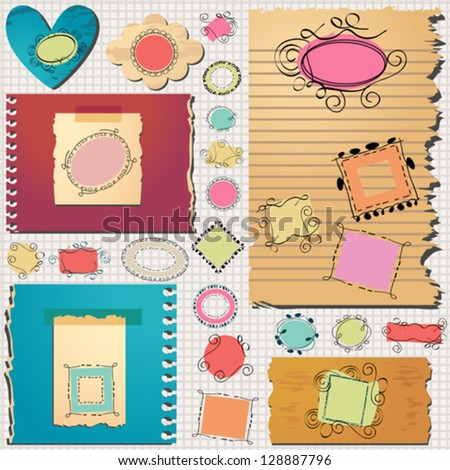 layout templates with cute doodled frames