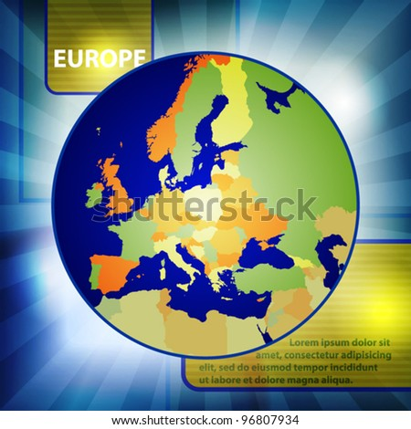Layout with color map of Europe. Vector
