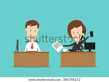 Lazy and busy office workers business concept. Dreamy smiling cartoon businessman is looking at his multitasking hard working female colleague  - stock vector