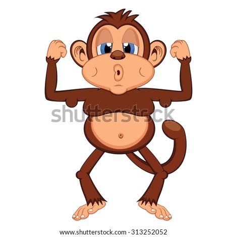 lazy and fat monkey - stock vector