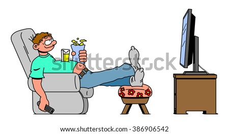 Lazy Person On Couch Cartoon Office Worker Sitting ...