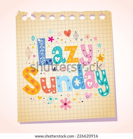 Lazy Sunday notepad paper cartoon illustration - stock vector
