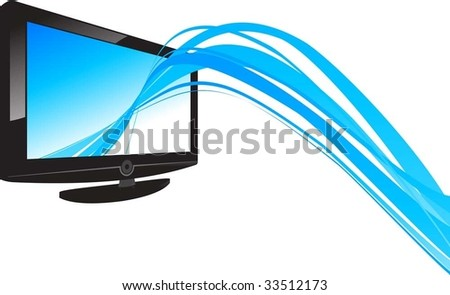 lcd and line - stock vector