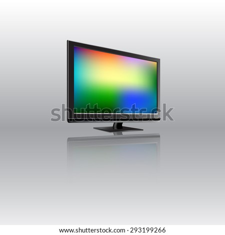 Lcd monitor with abstract background on the screen. Vector illustration.