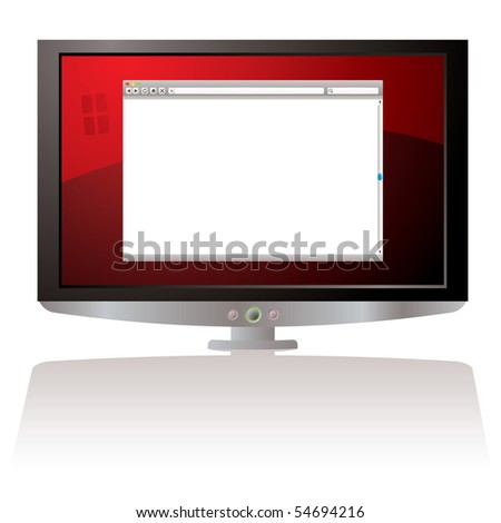 LCD Monitor with red background and web browser - stock vector