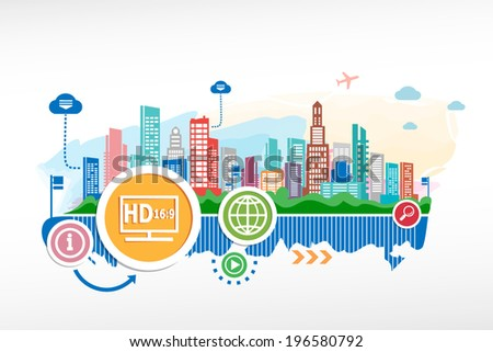 LCD tv full HD and cityscape background with different icon and elements. Design for the print, advertising. - stock vector