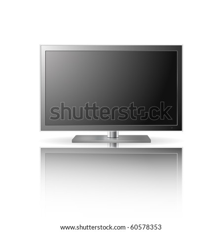 LCD TV set with reflection (vector) - stock vector