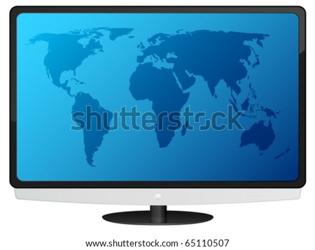 Lcd tv with blue world map. Vector illustration. - stock vector
