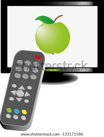 Lcd tv with remote control and green apple on screen, vector illustration - stock vector