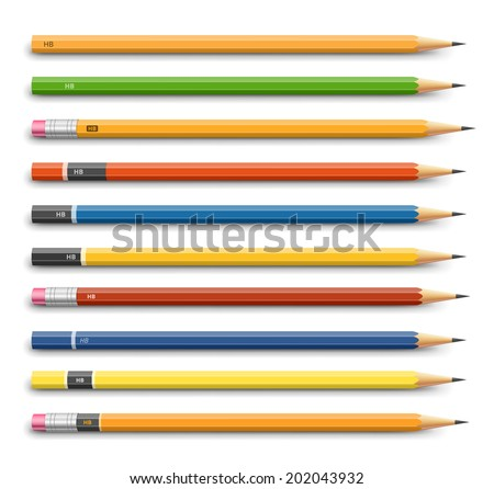 Lead pencils various design. Vector on white background - stock vector