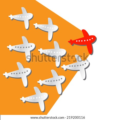 Leader Concept Illustration with cut paper airplanes, red and white.Positive. Vector flat design. Background. Isolated on white. - stock vector