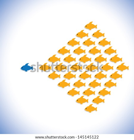 leader & followers or office manager & employees- vector graphic. The illustration can also represent concept of an entrepreneur or businessman starting a business,bold & confident office supervisor - stock vector