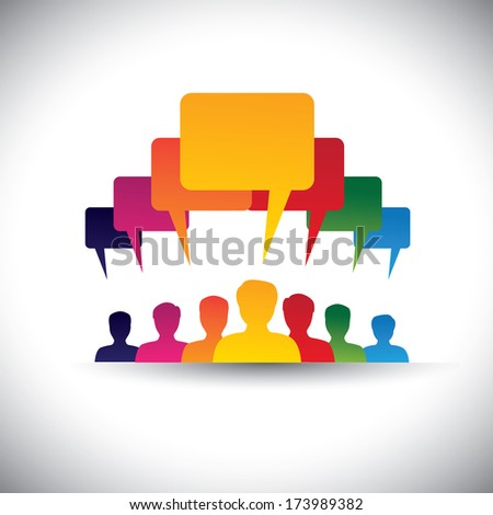 leader & leadership concept of motivating people - vector graphic. This graphic also represents social media communication, board meetings, student union, people's voice, company staff meetings, etc - stock vector