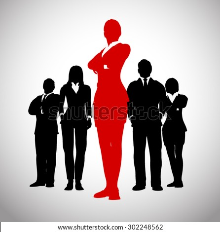 Leader of a Successful team of executives. A team of Successful executives led by a great leader. - stock vector