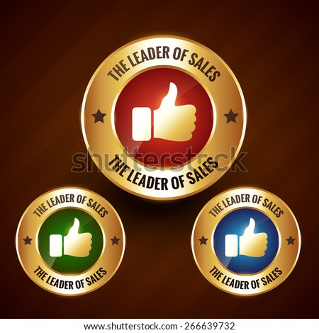 leader of sales vector golden label badge design with set of three different colors - stock vector