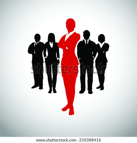 Leader of the team. A successful team led by a great leader. - stock vector