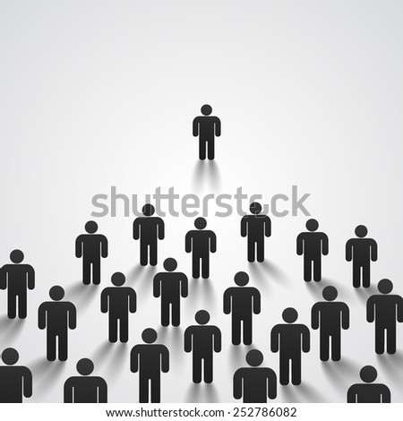 Leader stands in front of a crowd. Vector illustration - stock vector