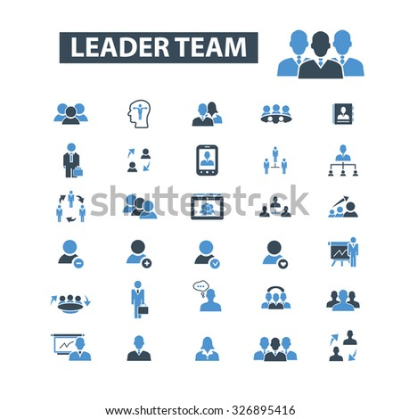 leader team, human resources icons - stock vector