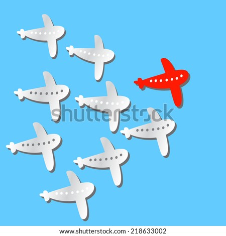 Leader Travel concept illustration: one red airplane flying first and some white airplanes behind it. On blue background. Vector flat illustration. As design element, clip art. - stock vector