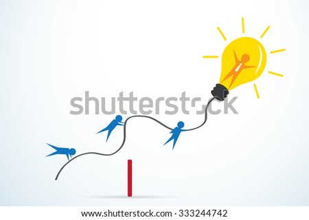 leader with light bulb and bulb team background, leadership concept - stock vector