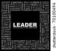 LEADER. Word collage on black background. Illustration with different association terms. - stock photo