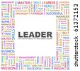 LEADER. Word collage on white background. Vector illustration. - stock photo