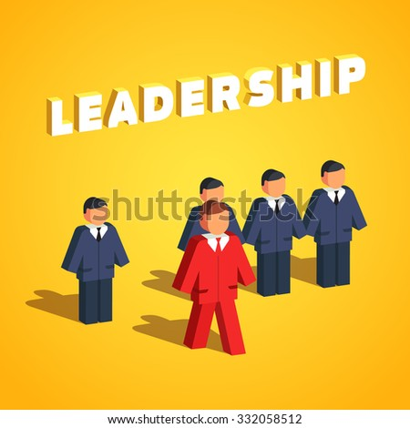 Leadership and entrepreneurship concept. Man stands out of line to lead his colleagues. Flat style vector illustration isolated on white background. - stock vector