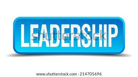 Leadership blue 3d realistic square isolated button - stock vector