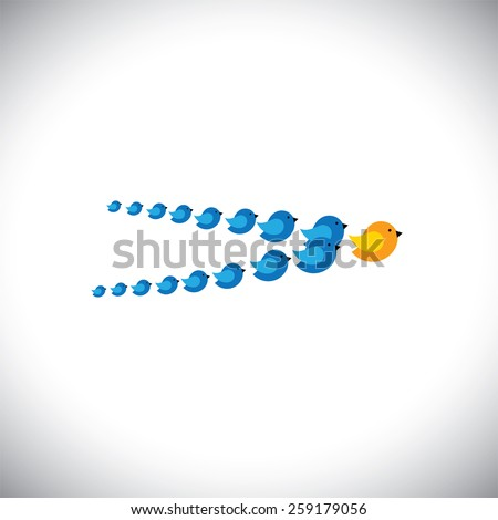 leadership concept vector - birds flying forming an arrow. This graphic also represents manager & employees, being successful executive, leader & followers, setting example, being different, daring - stock vector