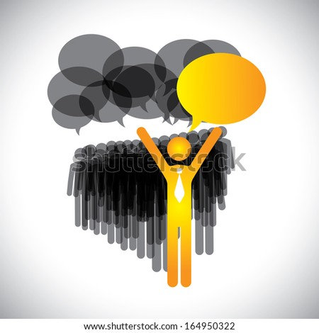 leadership concept vector - manager & employees discussion. This abstract graphic also represents worldwide communication & social media concept, people communicating around the globe, leader speaking - stock vector