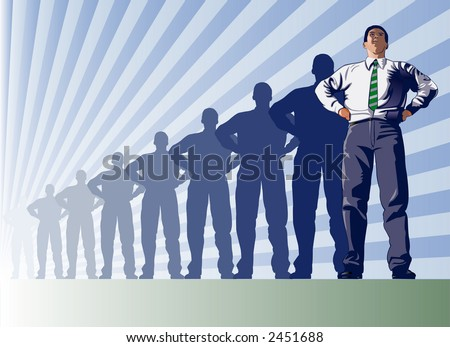 Leadership in the business world represented by the making of a leader - VECTOR - stock vector