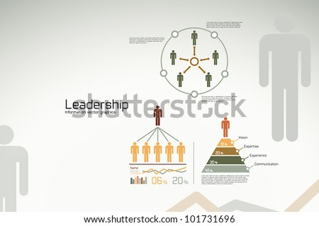 Leadership infographics, graphs and statistics for business use and teams - stock vector