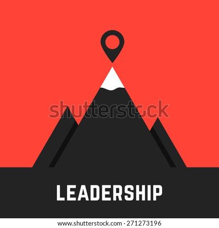 leadership metaphor with black mountains. concept of rock icon, perspective idea, team climb, corporate meeting, businessman performance. isolated on red background. flat style modern logo design - stock vector