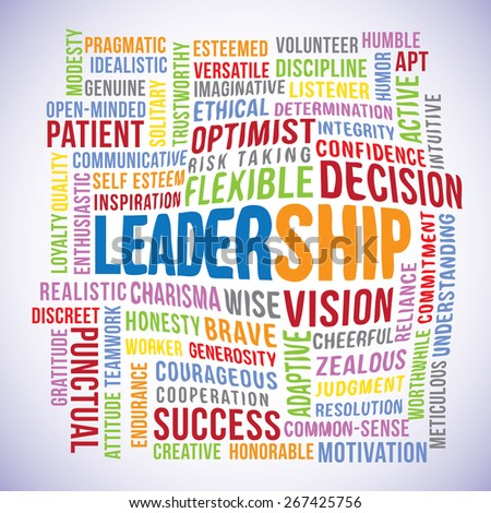 Leadership text cloud vector with many related words.