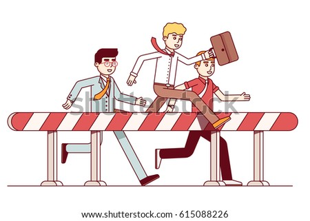Leading businessmen hurdling. Competition in achieving the goal. Business metaphor of competitive spirit & overcoming difficulties. Modern flat style thin line vector illustration isolated on white.