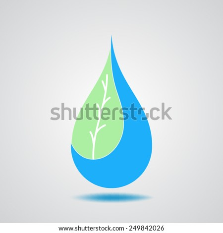 leaf  and drop water icon - stock vector